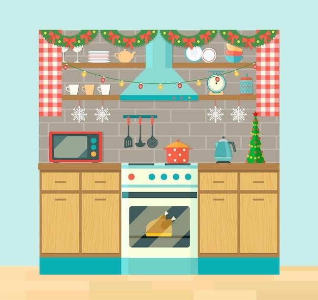 Rustykalne wnętrze kuchni i naczynia do gotowania. choinka, dekoracje świąteczne. płaskie ilustracji wektorowych