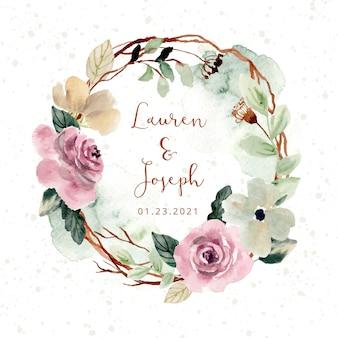 Rustykalny różowy wieniec z kwiatów akwareli