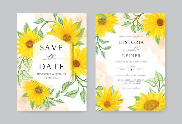 Rustykalny szablon karty zaproszenie na ślub słonecznika