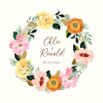Rustykalny wieniec akwarela żółty różowy kwiat