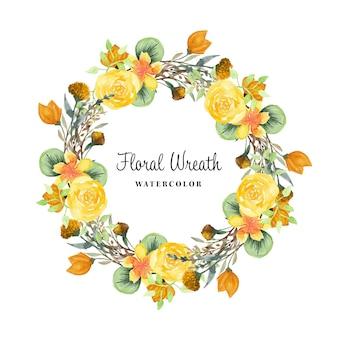 Rustykalny wieniec kwiatowy z dzikim kwiatem