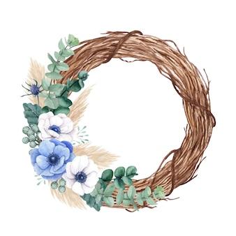 Rustykalny wieniec kwiatowy z kwiatami anemonowymi, eukaliptusem i trawą pampasową