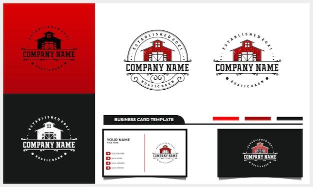 Rustykalny znaczek i projekt logo stodoły w stylu vintage z szablonem wizytówki