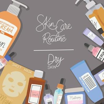 Rutyna do pielęgnacji skóry i sucha skóra napis na szarej ilustracji