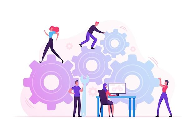 Rutynowy proces pracy i koncepcja pracy zespołowej. płaskie ilustracja kreskówka