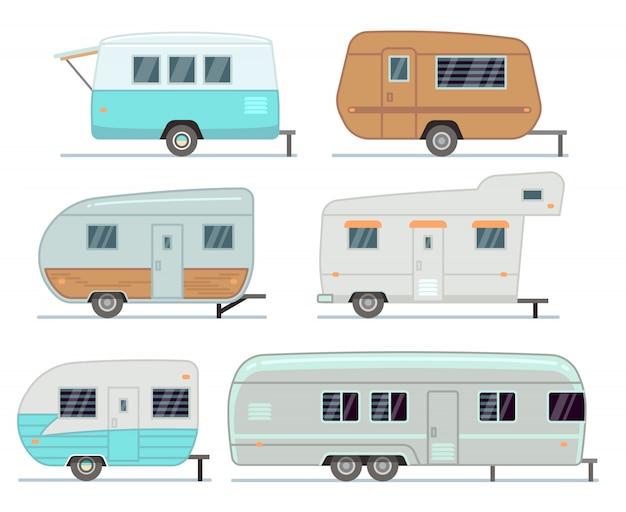 Rv przyczepy kempingowe, podróż mobile home, karawana wektor zestaw na białym tle