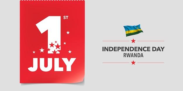Rwanda szczęśliwy dzień niepodległości wektor transparent kartkę z życzeniami rwandy data 1 lipca i macha flagą dla narodowego patriotycznego projektu wakacyjnego
