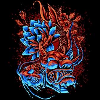 Ryba koi używająca diabelskiej maski