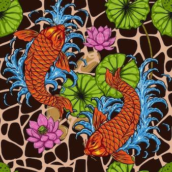 Ryba koi z lotosu szwu przez rysunek odręczny