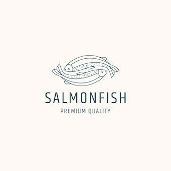 Ryba łososia logo ikona ilustracja szablonu projektu
