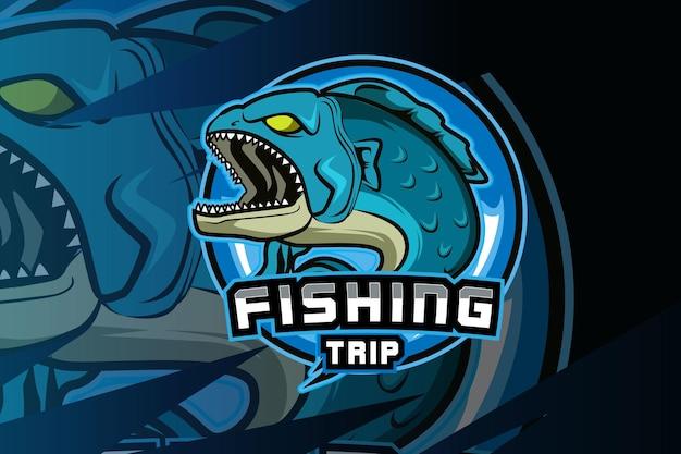 Ryba maskotka do sportu i logo e-sport na białym tle