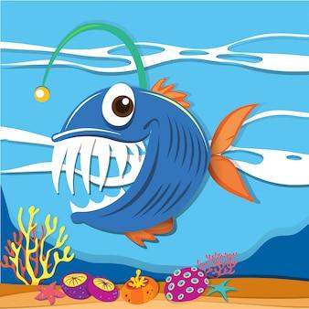 Ryba pływająca pod morzem