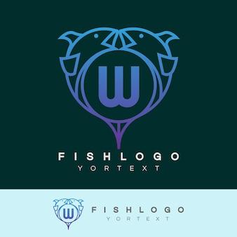 Ryba początkowa litera w projekt logo