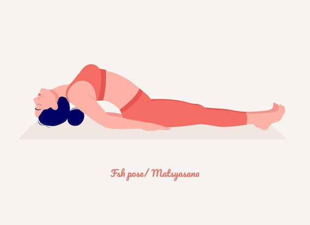 Ryba pozycja jogi młoda kobieta ćwiczy ćwiczenia jogi