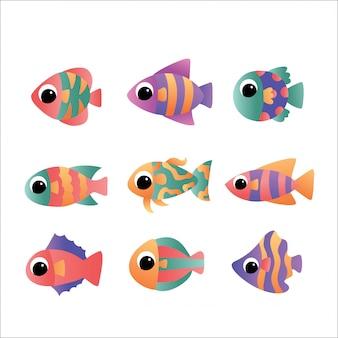 Ryba rzeczna na białym tle. zestaw ryb akwariowych słodkowodnych kreskówek.