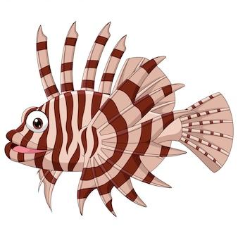Ryba skorpion kreskówka na białym tle