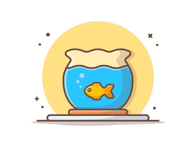 Ryba w akwarium ikony wektorowej ilustraci