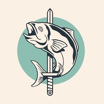 Ryba zawijająca wokoło kordzika rocznika loga projekta wektoru retro ilustraci.