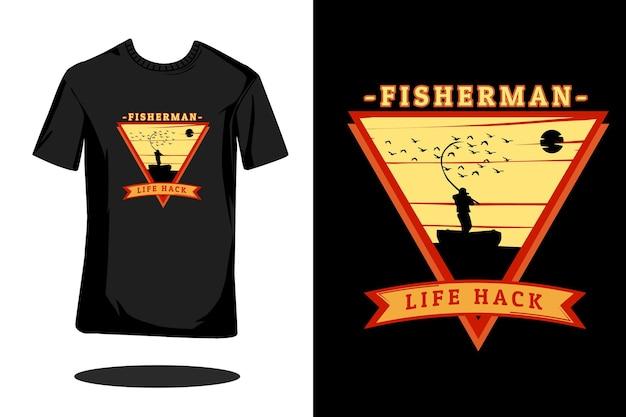 Rybak life hack sylwetka retro t shirt design