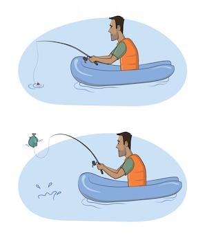 Rybak. mężczyzna z wędką w niezdolnej łodzi złapał rybę. ilustracja na białym tle.