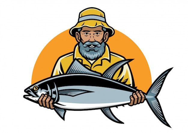 Rybak pokazuje swój duży tuńczyk