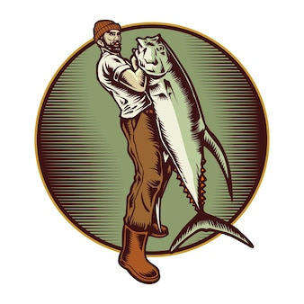 Rybak połów ryb ilustracja
