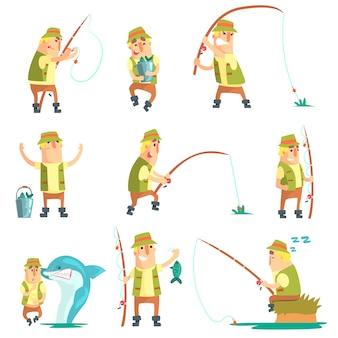 Rybak w różnych zabawnych sytuacjach zestaw ilustracji