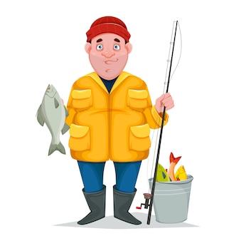 Rybak z złowioną rybą