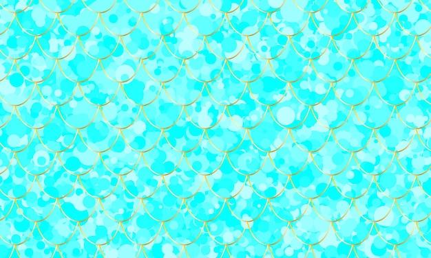 Rybia łuska. akwarela niebieski wzór kawaii. płaskorzeźba syreny. ilustracja wektorowa kolor.