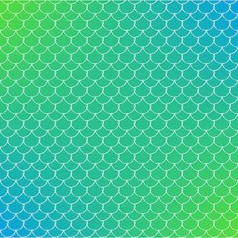 Rybia łuska na modnym tle gradientowym. kwadratowe tło z ornamentem w skali ryb. jasne przejścia kolorów. transparent ogon syreny i zaproszenie. podwodny i morski wzór. kolory zielony i niebieski.