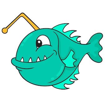 Ryby głębinowe z ostrymi zębami w poszukiwaniu zdobyczy, ilustracji wektorowych sztuki. doodle ikona obrazu kawaii.