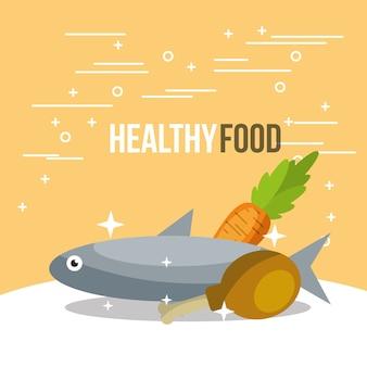 Ryby i marchewka z kurczaka zdrowego odżywiania