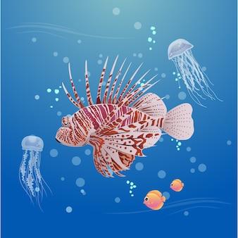 Ryby i rafy koralowe w morzu