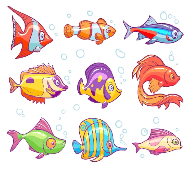 Ryby kreskówkowe. akwarium morze tropikalna ryba śmieszne podwodne zwierzęta. goldfish dzieci na białym tle zestaw