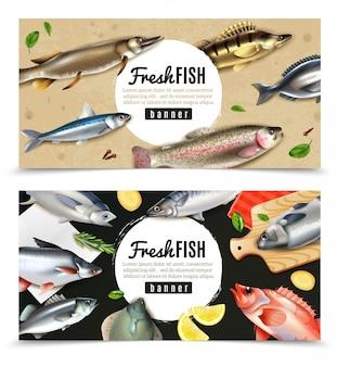 Ryby morskie i rzeczne do gotowania z przyprawami zestaw poziome bannery na białym tle