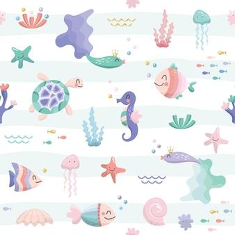 Ryby morskie postaci kreskówka bezszwowe tło