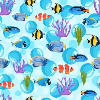 Ryby pod wodą z bąbelkami. tło dla dzieci. podwodny wzór. wzór ryby na tekstylia lub okładki książek, tapety, design, grafikę, opakowanie