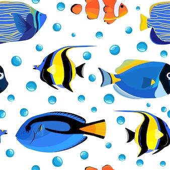 Ryby podwodne wzór z bąbelkami. dzieci podwodne tło. wzór ryby na tekstylia lub okładki książek, tapety, design, grafikę, opakowanie