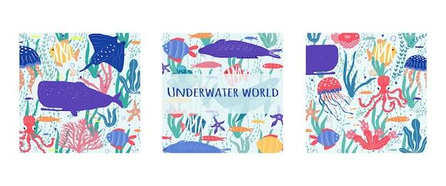 Ryby podwodnego świata, meduzy, ośmiornice, błazenki, rośliny morskie i koralowce, zestaw ze zwierzętami morskimi do nadruku, tekstylia, tapety, wystrój przedszkola, nadruki, dziecinne tło. wektor