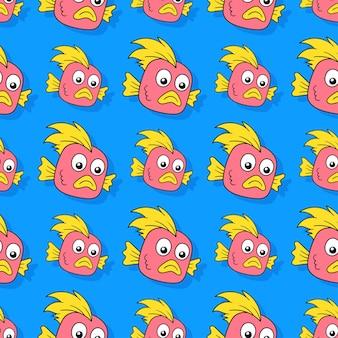 Ryby potwór bezszwowe powtórzyć wzór. tło wektor ilustracja.