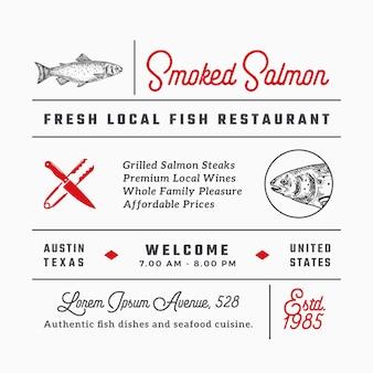 Ryby restauracja znaki, tytuły, napisy i zestaw elementów dekoracji menu.