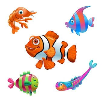 Ryby z kreskówek na białym tle