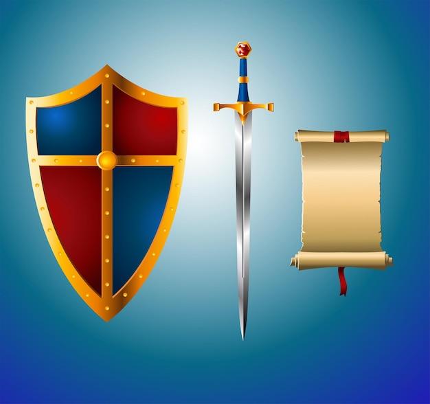 Rycerski miecz, tarcza i pergamin