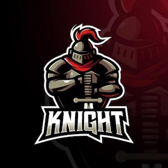 Rycerz gaming maskotka logo projekt ilustracja wektor