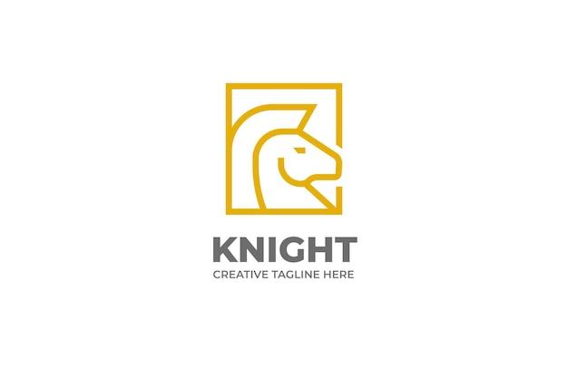 Rycerz koń szachy monoline logo