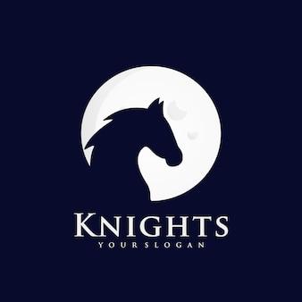 Rycerz kreatywne logo inspiracji na tle księżyca