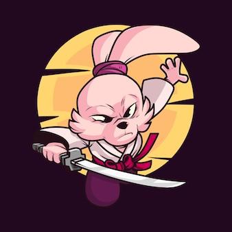 Rycerz królik kreskówka wektor ikona ilustracja