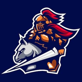 Rycerz palady starożytnego logo maskotka cesarza