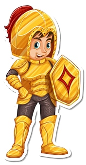 Rycerz w zbroi trzymający miecz z naklejką z postacią z kreskówek