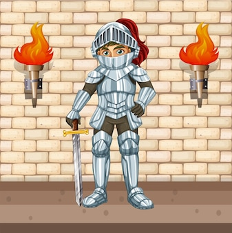 Rycerz w zbroi ze srebrnym mieczem